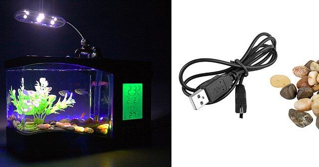 USB Aquarium with Alarm Clock & Thermometer