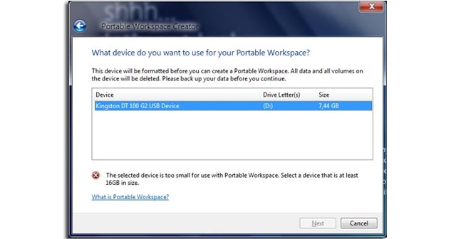 Windows 8 Portable Workspace USB flash drive app